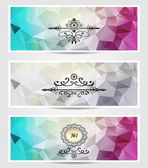 Set Abstract triangle banners  cyan lilac silver color — Stock Vector