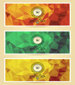Set Abstract triangle banners  red yellow gold green — Stock Vector