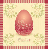 Easter egg with hand drawing beige dark red color — Stock Vector