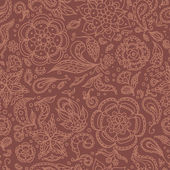 Sem costura padrão floral abstrato ou fundo marrom — Vetor de Stock