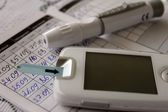 Diabetes, blood glucose meter — Stock Photo