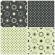 Seamless patterns with polka dots and circles, vector illustration — Stock Vector #22454671