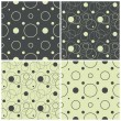 Seamless patterns with polka dots and circles, vector illustration — Stock Vector