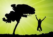 Happy man jumping, vector illustration — Stock Vector