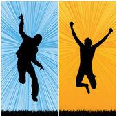 Happy man jumping — Stock Vector