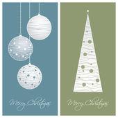 Blau und grün weihnachtskarte-hintergründe — Stockvektor
