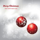 рождественская открытка фон, красный и серебро — Cтоковый вектор