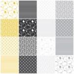Geometric seamless patterns: stripes, waves, dots, circles, chevron — Stock Vector #38782903