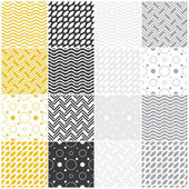 Geometric seamless patterns: polka dots, waves, chevron — Stock Vector