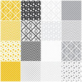 Geometric seamless patterns: squares, polka dots, chevron — Stock Vector