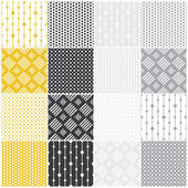 Geometric seamless patterns: dots, squares — Stock Vector