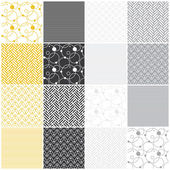 Geometric seamless patterns: stripes, waves, dots, circles, chevron — Stock Vector