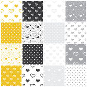 Seamless patterns with hearts — Stock Vector