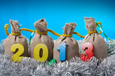 New year concept.Four bags with 2013 year — Stock Photo