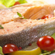 Stock Photo: Steamed salmon steak