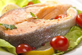 Steamed salmon steak — Stock Photo