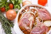 Marinating meat — Stock Photo