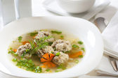 Broth with meatballs — Stock Photo