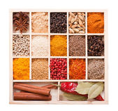 Various spices in the wooden box — Stock Photo