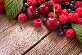 Berry mix on wood — Stock Photo