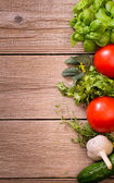 Vegetables and herbs background — Stock Photo