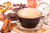 Coffee cup and sweets — Stock Photo