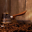 Turkish coffee brewing pot — Stock Photo