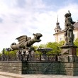 Winged dragon fountain in Klagenfurt — Stock Photo