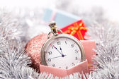 New year clock horizontal — Stock Photo