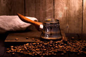 Coffee brewing pot — Stockfoto