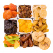 Bowls of various dried fruits — Stock Photo