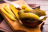 Cucumbers on cutting board — Stock Photo