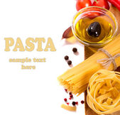 Pasta products with olive oil  — Stock Photo