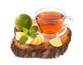 Tea with ginger lime and mint isolated — Stock Photo