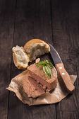 Pate with bread and basil — Stock Photo