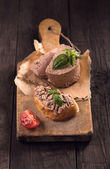 Slice of bread with duck liver pate — Stock Photo