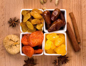 Dried fruits in a bowls top view  — Stock Photo