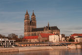 Magdeburg's Cathedral at sunrise in Winter time, Germany — Stock Photo