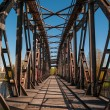 Old Railway Bridge over the Elbe in Magdeburg, Germany — Stock Photo