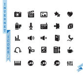 Vector black media icons set on white background — Stock Vector