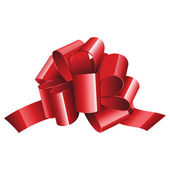 Gift red ribbon and bow isolated on white — Stock Vector
