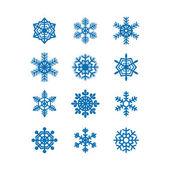 Snöflingor ikon insamling. vektor — Stockvektor