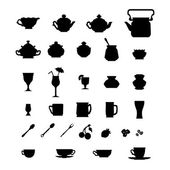 Collection of cups, teapots and other items. — Stock Vector