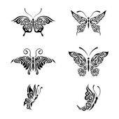 Collection black and white butterflies — Stock Vector