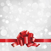 Holiday background or card with red ribbon — 图库矢量图片