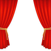 Realistic red velvet curtain — Vector de stock