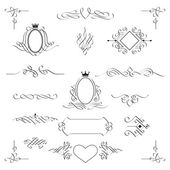 Set of calligraphic design elements. Vector. — Stock Vector