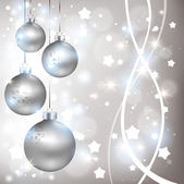 Christmas shiny silver background with balls — Vector de stock