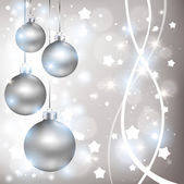 Christmas shiny silver background with balls — Stock Vector