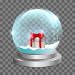 Snow globe with gift box — Stock Vector
